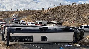 Tour bus rolls near Dolan Springs photo