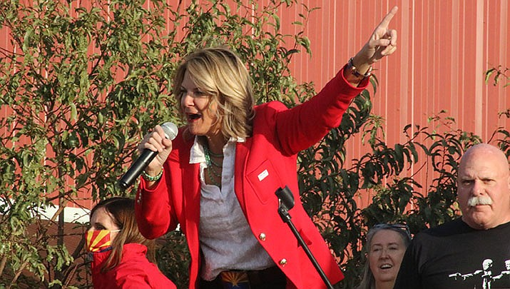 Kelli Ward, shown speaking to a crowd in Kingman at a rally on Nov. 2, 2020, has been reelected as chairman of the Arizona Republican Party. (Miner file photo)