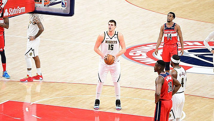 Nikola Jokic and the Denver Nuggets beat the Phoenix Suns 120-112 on Saturday, Jan. 23 in two overtimes. (Photo by All-Pro Reels, cc-by-sa-2.0, https://bit.ly/3sV8dZ2)