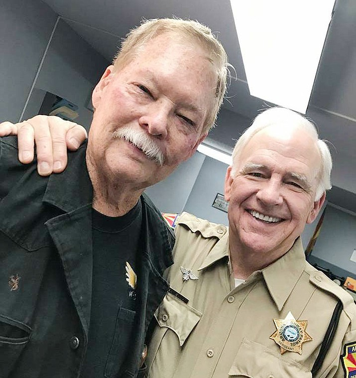Frank Shankwitz, founder of the Make-A-Wish Foundation, left, poses with Robert Pine, the famed police sergeant of the TV show CHIPS (an inspiration behind Make A Wish). (Courier file photo)