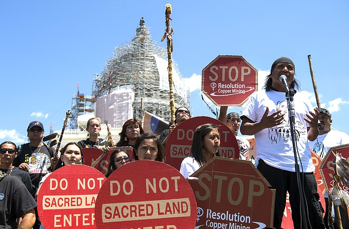 Tribal councilman Wendsler Nosie, Sr. speaks with Apache activists in a rally in 2015 to save Oak Flat, land near Superior, Arizona, sacred to Western Apache tribes, in front of the U.S. Capitol in Washington. (AP Photo/Molly Riley, File)