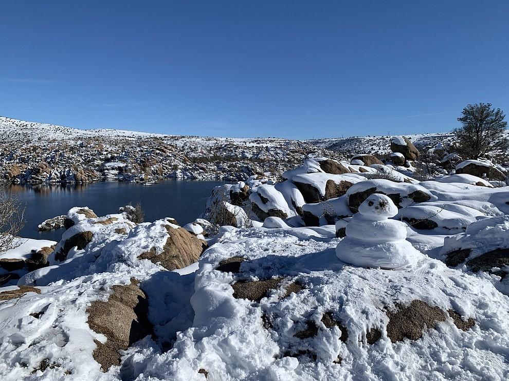 Snowman at Watson Lake. Photo by Bonny Martignoni.