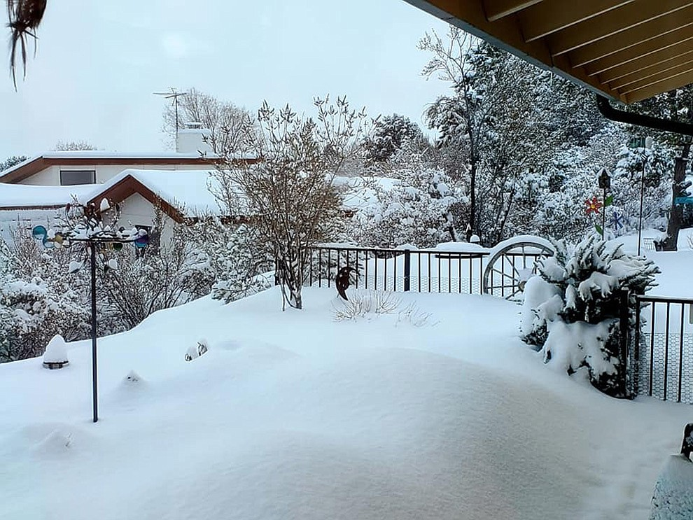 A snow scene from Yavapai Hills. Photo submitted by Christine and William Dixon.