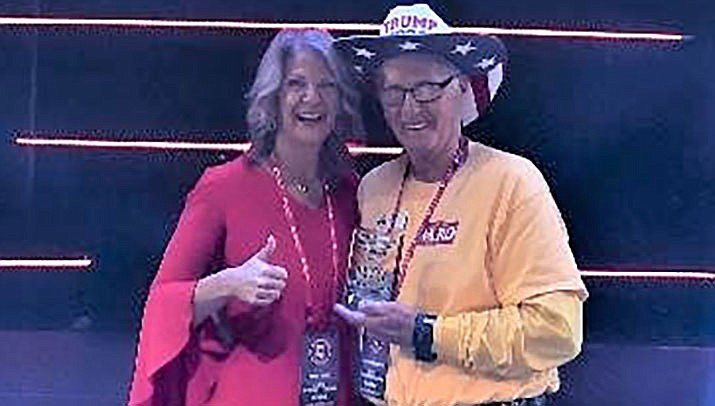 Denny Lange received the Outstanding Republican Worker Award 2020 for Mohave County at the Arizona Republic Party meeting on SAturday, Jan. 23 in Phonenix. Arizona GOP Chairman Kelli Award, shown with Lange, presented the sawrd. (Courtesy photo)
