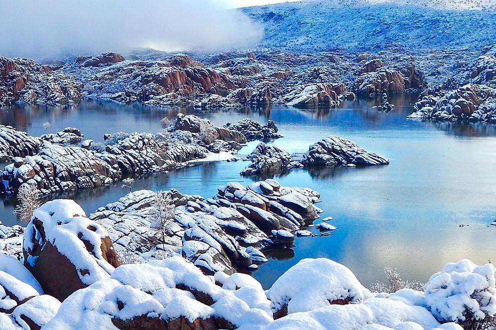 Watson Lake after January 2021 snowfall in Prescott, Arizona. Photo by Karen Shaw.