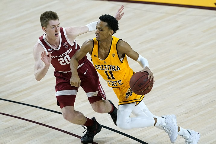 Arizona State guard Alonzo Verge Jr. drives as Stanford guard Noah Taitz (20) defends during the first half of an NCAA college basketball game Saturday, Jan. 30, 2021, in Tempe, Ariz. (Matt York/AP)