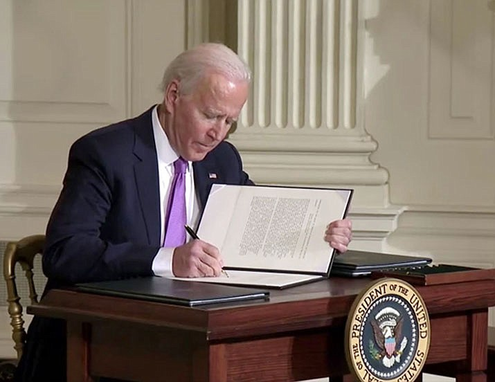 The private-prison executive order was one of four EOs signed Jan. 26 by President Joe Biden, who also called for more consultation with tribes, efforts to stop anti-Asian attacks and to fight historic racism in housing policies. (Photo courtesy the White House)
