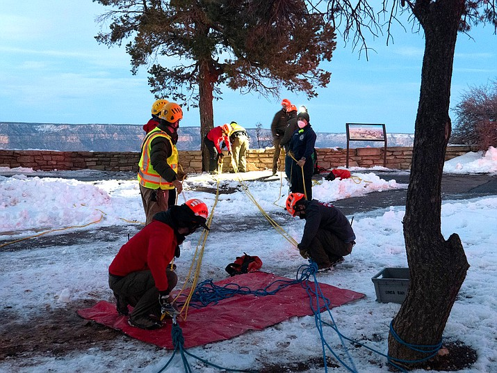 Grand Canyon Law Enforcement and Emergency Service rangers prepare an over-the-rim rescue Jan. 28 after a 35-year-old man from Flagstaff, fell while visiting the South Rim. The man was cited after rangers discovered the man was intoxicated. (Photo/NPS)