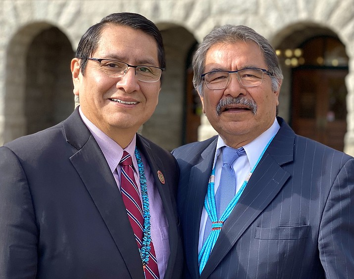 Navajo Nation President Jonathan Nez with former Navajo President Albert Hale. Hale passed away Feb.  2. He served as the second president of the Navajo Nation from 1995 to 1998. (Photo/Office of the Navajo Nation President and Vice President)