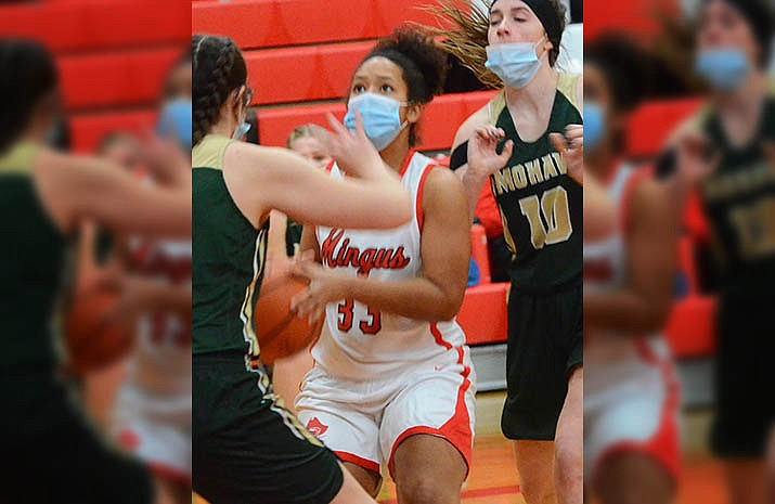 Mingus Union junior Madi Mathis prepares to shoot in the Marauders' Jan. 29 loss to Mohave. The Marauders are set to paly at Bradshaw Mountain on Thursday and to host Coconino at 5:30 p.m. Friday. VVN/Vyto Starinskas