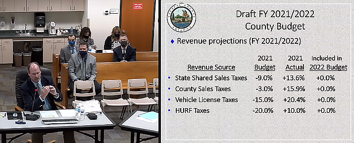 During a study session Wednesday, Feb. 3, 2021, Yavapai County Administrator Phil Bourdon gives a report to the Board of Supervisors on the state of the revenues in the current fiscal year (2020-21), as well as projections for 2021-22. (Screenshot)