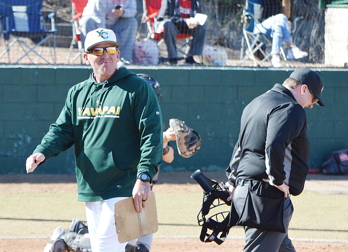 Yavapai College baseball coach Ryan Cougill, walking toward the dugout during a game against Glendale Community College on Jan. 31, 2020, is entering his ninth season at the helm of the Roughriders in 2021. Yavapai's season was cut short in 2020 due to COVID-19. The NJCAA cancelled the season just 25 games in. (Brian M. Bergner Jr./Courier, file)