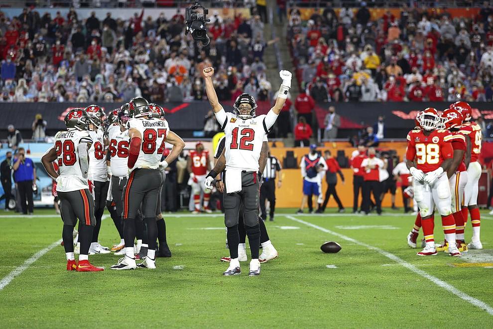 Tampa Bay Buccaneers quarterback Tom Brady (12) celebrates during the NFL Super Bowl 55 football game against the Kansas City Chiefs, Sunday, Feb. 7, 2021 in Tampa, Fla. (Ben Liebenberg via AP)