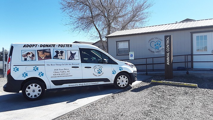 Chino Valley animal control staff will use this new Ford Transit Van to transport animals to vet appointments and various events. The Chino Valley Animal Shelter purchased the van using a donation from the Mary-Kathryn Campbell estate. (Courtesy/Chino Valley Animal Shelter)