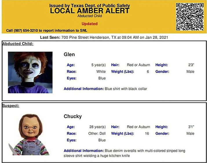 "This photo provided by The Texas Department of Public Safety shows an Amber Alert test for Chucky and his son Glen Ray that was released last Friday, Jan. 29, 2021 by the agency. The Texas Department of Public Safety is apologizing after accidentally sending out an Amber Alert about Chucky, the killer doll featured in the 1980s horror film ""Child's Play."" The alert was meant to be an internal test, but it was instead sent out three times last week in Texas. (Texas Department of Public Safety/The San Antonio Express-News via AP)"