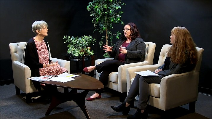 """From left, Prescott Valley Town Council Member Lori Hunt, resident Nicky Indicavitch and MATForce Executive Director Merilee Fowler discuss the formation of a Prescott Valley Fentanyl Working Group during a """"Council Chat"""" discussion in January 2021. (Town of Prescott Valley/Courtesy)"""