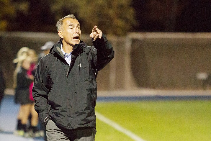 This 2017 file photo shows Andre Luciano coaching from the sidelines at Northern Arizona University. He spent 18 years as the head coach of the Lumberjack women's soccer program. Luciano, a 1991 Yavapai College graduate, helped the Roughriders win the program's first NJCAA national title in 1990 as a goalkeeper. He has been named the next head coach of the Roughriders after longtime coach Mike Pantalione retired in January. (NAU Athletics/Courtesy)