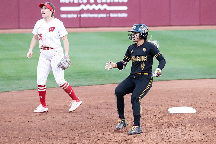 Arizona State's Kindra Hackbarth (right) was having a monster season before the pandemic ended it. She led the Pac-12 with 39 hits. (Photo by Marlee Smith/Cronkite News)
