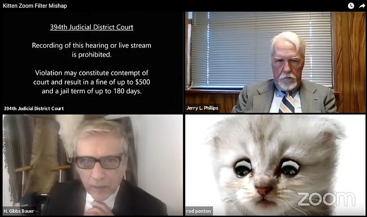 This image from video shows a hearing from the 394th Judicial District Court of Texas. The hearing took a detour when an attorney showed up looking like a kitten. A filter that had been activated on the attorney's device obscured his appearance and made him look like a cat. Judge Roy Ferguson shared the short video clip of the mishap on YouTube. The judge says everyone involved handled the situation with professionalism and grace. (Texas Department of Criminal Justice via AP)