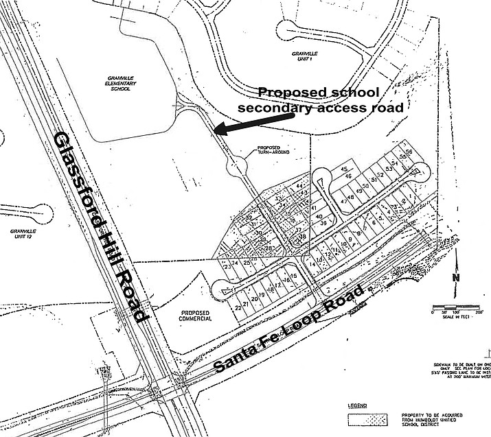 The Humboldt Unified School District Governing Board Tuesday night, Feb. 9, 2021, approved a two-acre land exchange with Granville developer Joe Contadino that will include construction of a new access road that will be built behind Granville Elementary School. (HUSD)