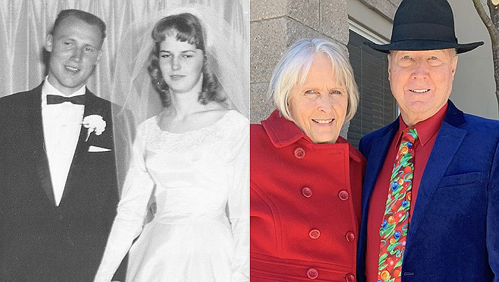 Garry and Bernice Chartier are celebrating their 60th wedding anniversary on Feb. 18, 2021. They were married Feb. 18, 1961, on a cold and snowy evening in Brush, Colorado. They moved to Prescott, Arizona in March of 1965 to start the family business, Chartier Drywall. Garry retired in the early 2000 and still manages his apartments. They have two children living in Prescott, Garry and Cindy, and four grandchildren. (Courtesy)
