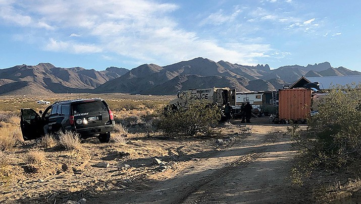 This is the scene where a Dolan Springs man reportedly fired at Mohave County Sheriff's deputies before shooting himself. (MCSO photo)