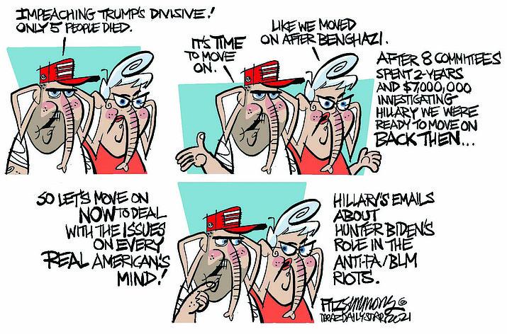 Editorial cartoon (2): Feb. 13, 2021