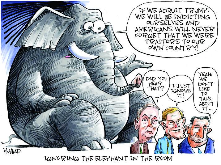 Editorial cartoon (1): Feb. 13, 2021