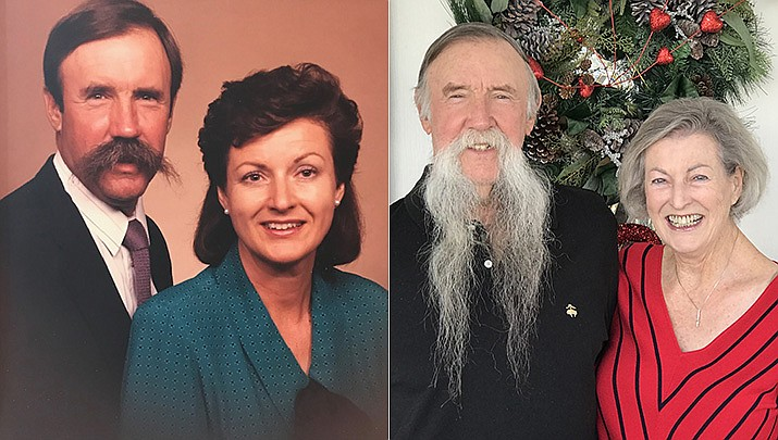 Whit and Cricket Revell of Prescott Valley are celebrating their 55th wedding anniversary; their 1966 wedding day photos are in storage, but pictured above is a photo from their 25th anniversary (then) and now. (Courtesy)