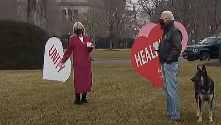 The North Lawn of the White House is covered with hearts, a Valentine to America from First Lady Jill Biden. (Screen capture from White House video/Public domain)