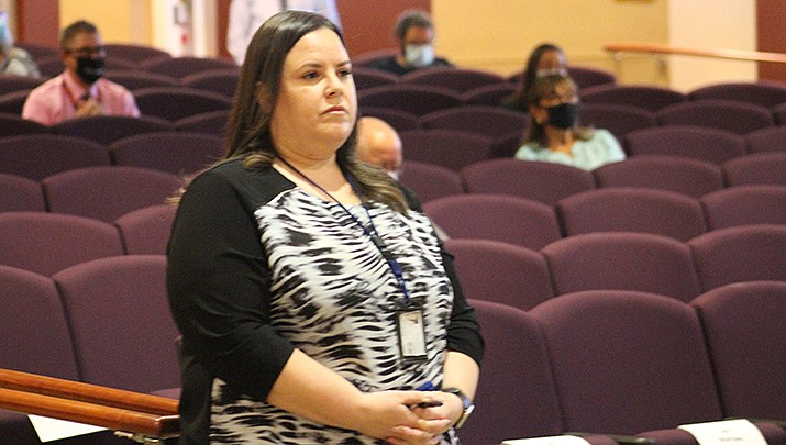 Mohave County Procurement Director Tara Acton speaks to the board of supervisors. (Miner file photo)