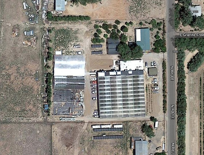 Chino Valley Town Council originally approved the Chino Valley Farms protective development rights for the cultivation of medical marijuana in February 2016. This allowed the 12-acre property to be developed over three phases in the form of greenhouses totaling over 220,000 square feet. (Google Earth)