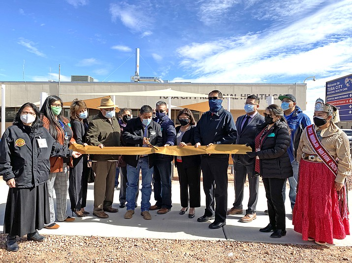 Navajo Nation President Jonathan Nez joined NTUA Choice Wireless officials, Council Delegate Otto Tso, Tuba City Regional Health Care Corporation CEO Lynette Bonar and board members, Tuba City Chapter President Gerald Keetso, Navajo Nation Telecommunications Regulatory Office Executive Director Christopher Becenti, Coconino County Supervisor Lena Fowler and others in Tuba City, to mark the completion of a new fiber optic line. (Photo/Navajo Nation Office of the President)