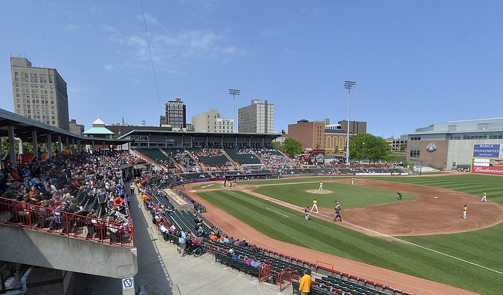 In this June 4, 2019, file photo, the Erie SeaWolves host the Altoona Curve for an Eastern League baseball game at UPMC Park in Erie, Pa. Major League Baseball has reorganized its minor leagues in a 120-team regional alignment, MLB announced, Friday, Feb. 12, 2021. The leagues have not yet been named and Major league owners, Commissioner Rob Manfred and his staff have not decided whether to retain the traditional names of the leagues, such as Pacific Coast League. (Greg Wohlford/Erie Times-News via AP, File)