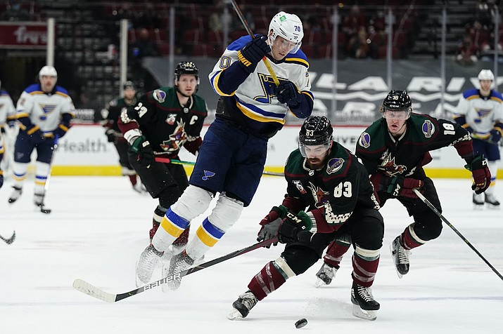 Arizona Coyotes right wing Conor Garland (83) shields St. Louis Blues center Oskar Sundqvist (70) from the puck in the first period during an NHL hockey game, Monday, Feb. 15, 2021, in Glendale, Ariz. (Rick Scuteri/AP)