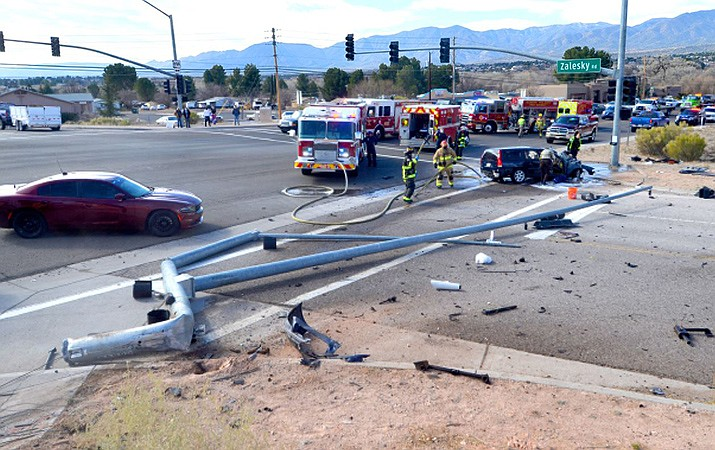 A vehicle accident knocked down a signal pole on State Route 89a in Bridgeport last Friday sending two people to the hospital. VVN/Vyto Starinskas