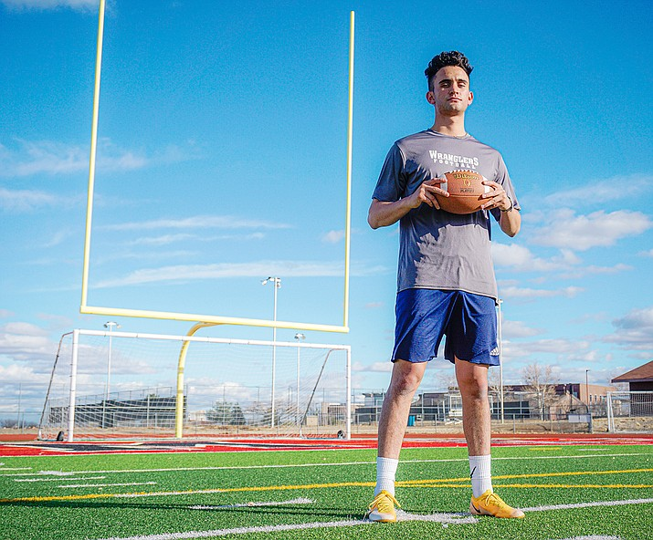 Brandon Fischer was born and raised in Prescott Valley and played soccer for Bradshaw Mountain and Yavapai College. However, he was also was the kicker for the Bradshaw Mountain football team for a couple of seasons and is now trying out for Prescott Valley's new Indoor Football League team the Northern Arizona Wranglers. (Aaron Valdez/Courier)