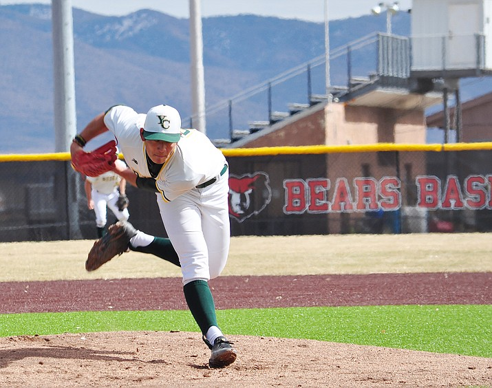 Yavapai College pitcher Taisei Yahiro throws a pitch against Lamar Community College on Monday, Feb. 15, 2021, in Prescott Valley. It was game one of a doubleheader against Lamar. Yahiro threw 3-2/3 innings, allowing three runs on seven hits and striking out five to get the win in a 12-3 victory for Yavapai College. (YC Athletics/Courtesy)