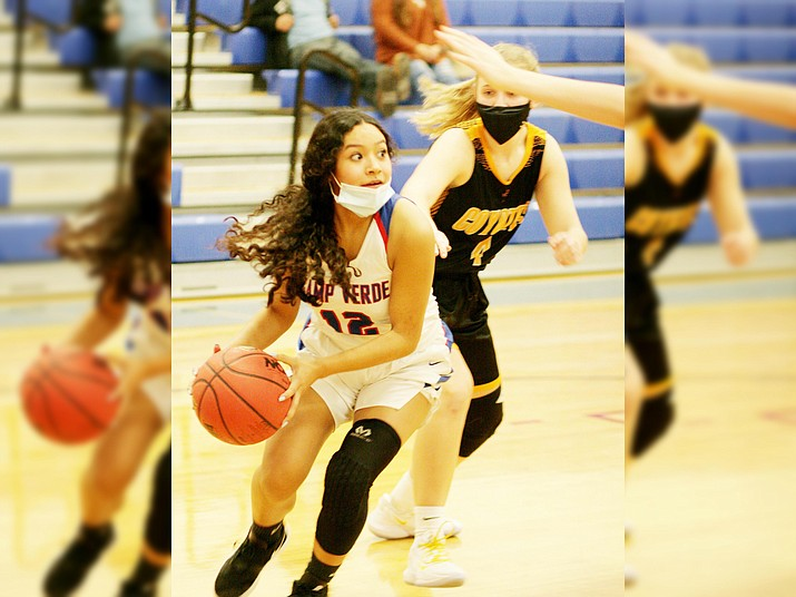 This week, Camp Verde faces Parker, Northwest Christian and Page high schools. Pictured, Camp Verde guard D'Ana Aranzamendi. VVN/Bill Helm