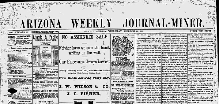 """On Feb. 22, 1890, the Walnut Grove Dam on the Hassayampa River broke after heavy rains, causing the loss of 50 lives. The Walnut Grove Dam site is between Crown King and Yarnell, south of Prescott. The Weekly Journal-Miner reported in its Feb. 26, 1890 edition that $3 million to $4 million worth of property was destroyed in minutes, and the disaster """"affects not only Yavapai County and the territory of Arizona, but the entire arid belt of the great Southwest."""" (Courier archives)"""