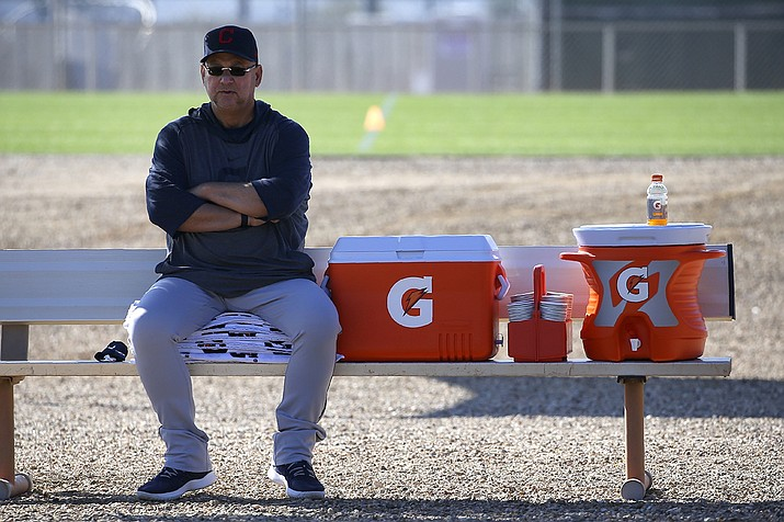 Cleveland Indians manager Terry Francona looks on during spring training baseball workouts for pitchers and catchers in Avondale, Ariz., in this Thursday, Feb. 13, 2020, file photo. (AP Photo/Ross D. Franklin, AP File)