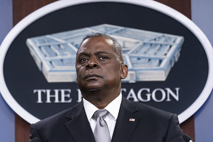 Secretary of Defense Lloyd Austin listens to a question as he speaks during a media briefing at the Pentagon, Friday, Feb. 19, 2021, in Washington. (Alex Brandon/AP)