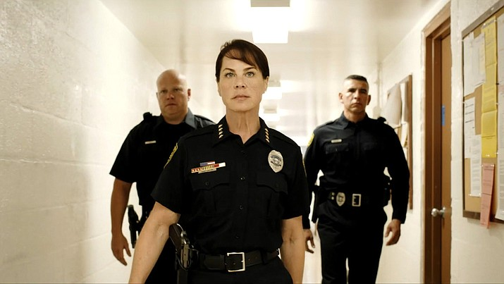 Deirdre Lovejoy (The Wire, The Blacklist) plays Police Chief Collins in the new indie suspense film Spiked. (Image from film)