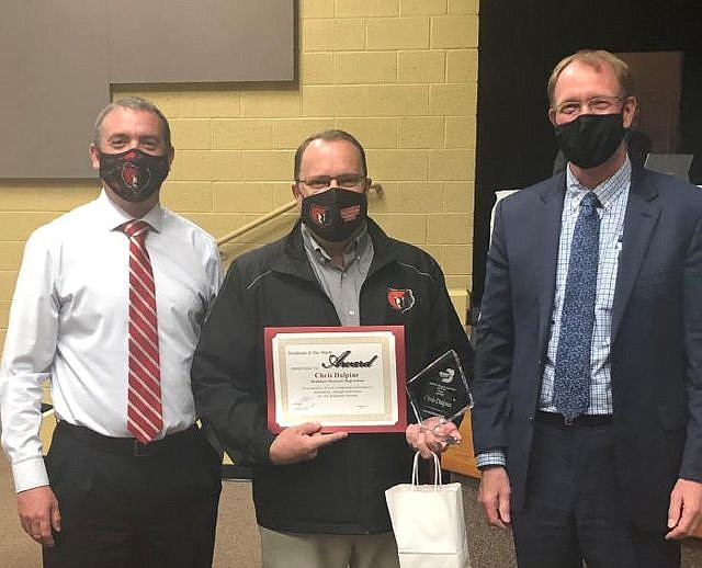 Shown at the Governing Board Celebrations of Success during the February meeting are, from left, Bradshaw Mountain High School Principal Brett Dahl, biology teacher Chris Dalpiaz and Superintendent John Pothast. (HUSD/Courtesy)