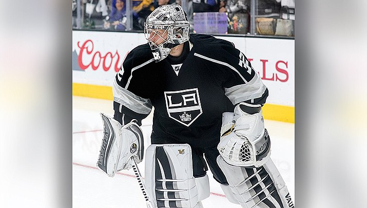 Goalie Jonathan Quick led the Los Angeles Kings to a 3-2 win over the Arizona Coyotes on Thursday, Feb. 18. (Photo by mark6mauno, cc-by-sa-2.0, https://bit.ly/3pue3h6)