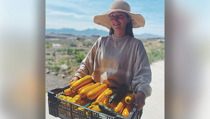 Rosebird Farms owner Andrea McAdow shows off the vegetables of her labor. (Rosebird Farms courtesy photo)