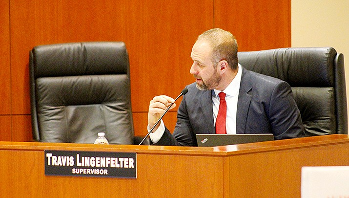 Mohave County District 1 Supervisor Travis Lingenfelter speaks during the Feb. 16 meeting of the board of supervisors. (Photo by Agata Popeda/Kingman Miner)