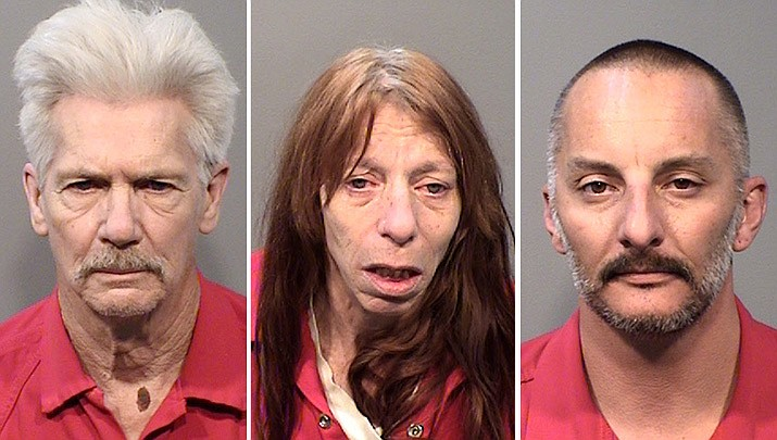 From left, 64-year-old Thomas Davis, 54-year-old Tammy Romeo and 43-year-old Uriah Eckardt, of Prescott. (YCSO)