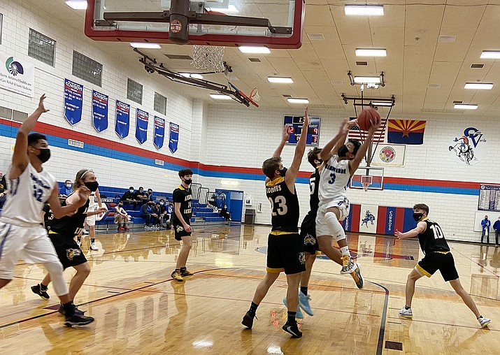 Camp Verde junior guard Chino Salas Zorilla (No. 3) scored 20 points Saturday at Sedona-Red Rock. Camp Verde beat the Scorpions 73-46. VVN/Bill Helm