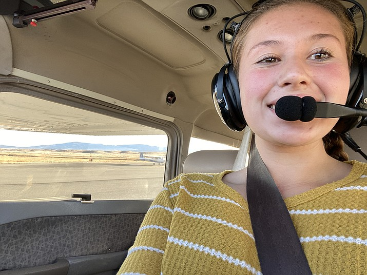 Callie Oryall, 16, takes a selfie before takeoff Nov. 20, 2020, on her first solo flight. Oryall is part of the Mountain Institute Career and Technical Education aviation program at Yavapai College. (Jennifer Woods, Prescott High School/Courtesy)